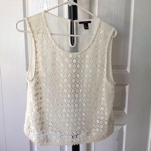 FOREVER 21 white knit/sheer tank